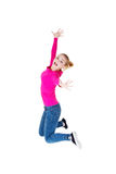Young caucassian woman is jumping. Isolated on white Royalty Free Stock Photo