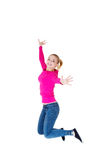 Young caucassian woman is jumping. Isolated on white Stock Photo