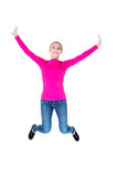 Young caucassian woman is jumping. Isolated on white Royalty Free Stock Photos