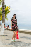 Young caucausian brunette with summer bag strolling on boardwalk Stock Image