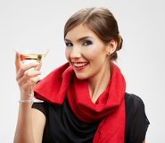 Young celebrating woman. Beautiful model portrait isolated stock photos