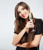 Young celebrating woman black dress . Beautiful mo Stock Photo