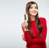 Young celebrating woman in red. Stock Photos