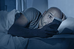 Free Young Cell Phone Addict Man Awake At Night In Bed Using Smartphone Stock Photo - 45794310