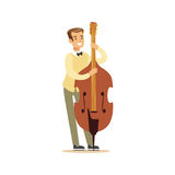 Young cellist playing cello vector Illustration Royalty Free Stock Images