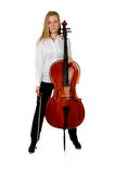 Young cellist son white background. Young cellist standing astride on white background royalty free stock image