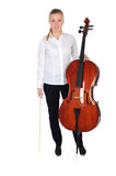 Young cellist standing. On white background royalty free stock images