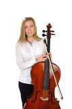 Young cellist standing. On white background with cello stock photo