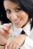Young ceo pointing with pen Stock Photo
