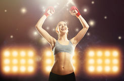 Young champion woman boxer celebrating Royalty Free Stock Photography