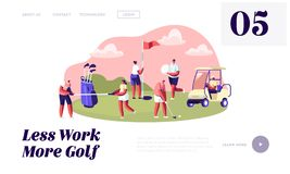 Young Characters with Golf Equipment and Cart, Happy People Relaxing on Golf Field, Sports, Outdoors Fun, Healthy Lifestyle