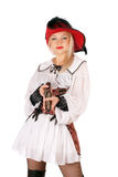 Young charming blonde with gun Royalty Free Stock Images