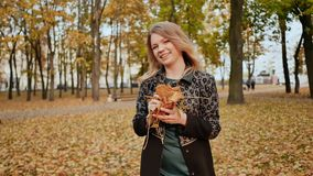 Young charming girl in a coat throws colorful autumn leaves, posing and laughing in the camera. Enjoying the autumn stock footage