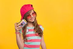 Little hipster girl with photo camera Royalty Free Stock Photography