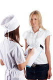 The young charming staff nurse with  patient Stock Images