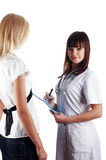 The young charming staff nurse with  patient Royalty Free Stock Images