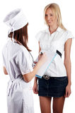 The young charming staff nurse with  patient Royalty Free Stock Image