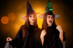 Young cheeful women in halloween style Royalty Free Stock Photos