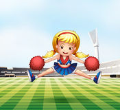 A young cheerdancer performing at the field. Illustration of a young cheerdancer performing at the field Stock Photography