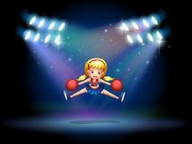 A young cheerdancer performing at the stage. Illustration of a young cheerdancer performing at the stage Royalty Free Stock Photos