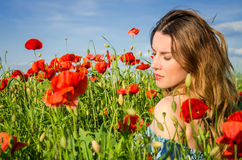 A young cheerful beautiful girl walks in a poppy meadow among red blooming poppies on a bright, hot, sunny summer day Royalty Free Stock Photography