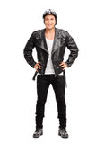 Young cheerful biker in a black leather jacket Stock Images