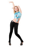 Young cheerful blond woman Stock Images