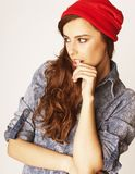 Young cheerful brunette teenage girl on white Stock Photography