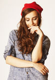 Young cheerful brunette teenage girl on white Royalty Free Stock Photos