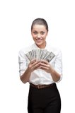 Young cheerful businesswoman holding money Stock Image