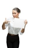 Young cheerful businesswoman holding sign Stock Photography