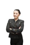 Young cheerful businesswoman on white Stock Images