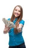 Businesswoman holding money Stock Photo