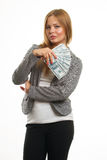 Young cheerful caucasian businesswoman in suit Royalty Free Stock Images