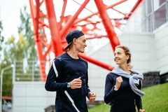 Young cheerful couple leads healthy lifestyle stock photos