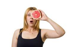 Girl with grapefruit eyes Stock Photos