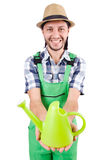 Young cheerful gardener with watering can isolated Royalty Free Stock Image