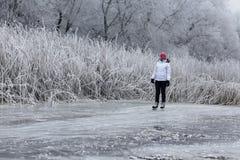 Young cheerful girl skating on the lake. Stock Photography