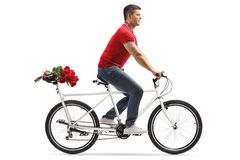 Young cheerful man riding a tandem bicycle and carrying red roses on the back seat stock images