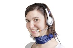 Young Cheerful phone operator Royalty Free Stock Photos