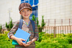 Young cheerful schoolboy with books Stock Image