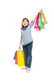Young and cheerful shopping girl Royalty Free Stock Photos