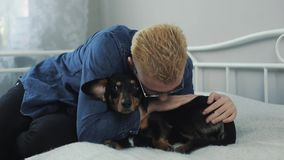 Young cheerful stylish man playing with the dog dachshund on the bed. Man and dog having fun. stock video footage
