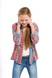 Young cheerful teenage girl on white background Stock Images