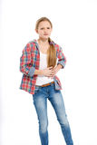 Young cheerful teenage girl on white background Stock Photo