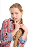 Young cheerful teenage girl on white background Stock Photography