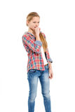 Young cheerful teenage girl on white background Stock Photos