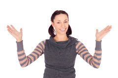 Young Cheerful Woman Hands Up Royalty Free Stock Photography