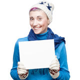 Young cheerful woman holding sign on white background Stock Photography