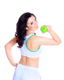 Young cheerful woman in sports wear Stock Photo